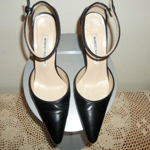 Manolo Blahnik Ankle Strap Stiletto Black Sz 37.5